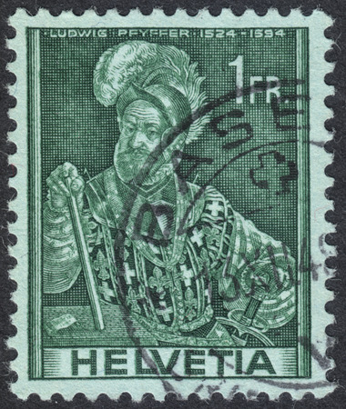 representations: MOSCOW, RUSSIA - CIRCA SEPTEMBER, 2016: a stamp printed in SWITZERLAND  shows a portrait of Colonel Ludwig Pfyffer, the series Historical representations, circa 1941