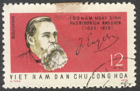 marx: MOSCOW, RUSSIA - CIRCA SEPTEMBER, 2016: a stamp printed in VIETNAM shows a portrait of Friedrich Engels, the series The 150th Birth anniversary of F. Engels, circa 1970