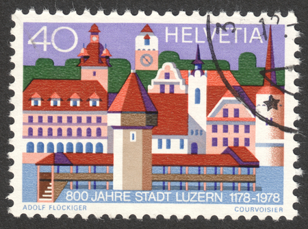 helvetia: MOSCOW, RUSSIA - CIRCA OCTOBER, 2016: a post stamp printed in SWITZERLAND, dedicated to 800 Years City of Luzern, circa 1978