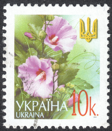 MOSCOW, RUSSIA - CIRCA OCTOBER, 2016: a post stamp printed in UKRAINE shows flowers  and a trident, the Definitive Issue, circa 2003 Editorial