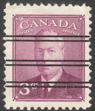vi: MOSCOW, RUSSIA - CIRCA OCTOBER, 2016: a post stamp printed in CANADA shows a portrait of King George VI, circa 1949-1951