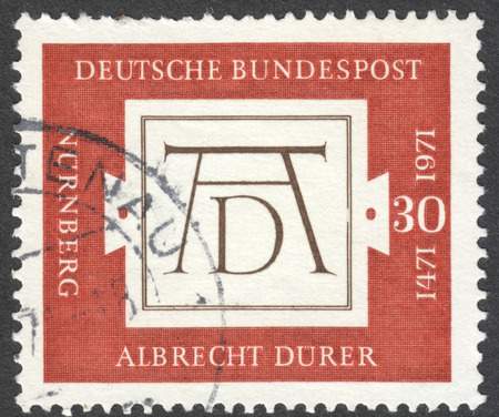 bundespost: MOSCOW, RUSSIA - CIRCA OCTOBER, 2016: a post stamp printed in GERMANY, dedicated to the 500th Anniversary of the Birth of Albrecth Durer, circa 1971