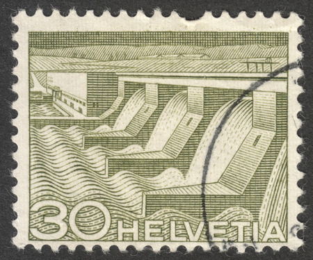 helvetia: MOSCOW, RUSSIA - CIRCA OCTOBER, 2016: a post stamp printed in SWITZERLAND shows Power plant near Verbois, the series Engineering, circa 1949 Editorial