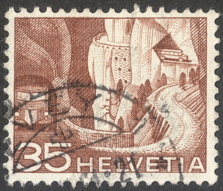 helvetia: MOSCOW, RUSSIA - CIRCA OCTOBER, 2016: a post stamp printed in SWITZERLAND shows Post road Val dAnniviers, the series Engineering, circa 1949 Editorial