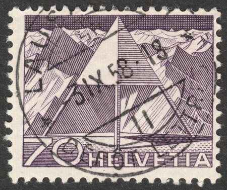 helvetia: MOSCOW, RUSSIA - CIRCA OCTOBER, 2016: a post stamp printed in SWITZERLAND shows Triangulation Point, the series Engineering, circa 1949