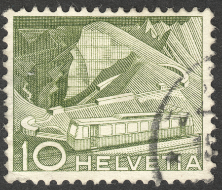 helvetia: MOSCOW, RUSSIA - CIRCA OCTOBER, 2016: a post stamp printed in SWITZERLAND shows Mountain Railway, the series Engineering, circa 1949 Editorial
