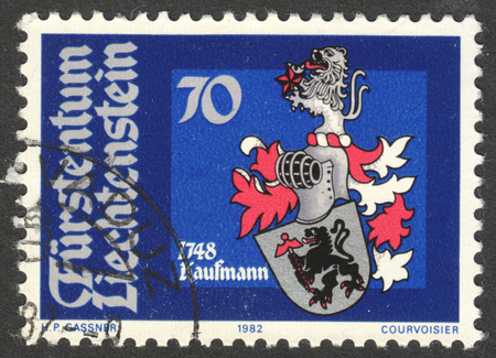 anton: MOSCOW, RUSSIA - CIRCA OCTOBER, 2016: a post stamp printed in LIECHTENSTEIN shows  Arms of Joseph Anton Kaufmann, the series The Coat of Arms, circa 1982