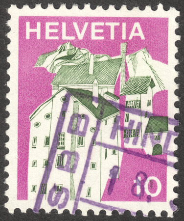helvetia: MOSCOW, RUSSIA - CIRCA OCTOBER, 2016: a stamp printed in SWITZERLAND shows a traditional landscape, the series Landscapes, circa 1973