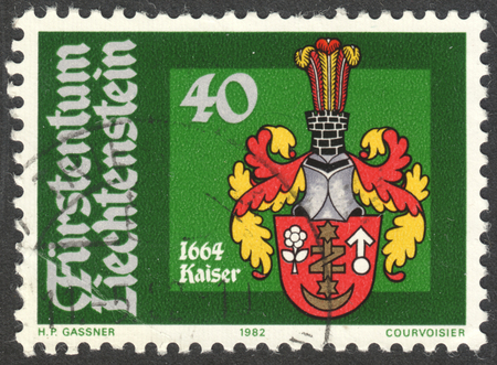 kaiser: MOSCOW, RUSSIA - CIRCA OCTOBER, 2016: a post stamp printed in LIECHTENSTEIN shows  Bailiff Arms, Johann Kaiser, the series The Coat of Arms, circa 1982 Editorial