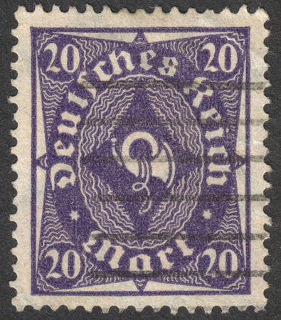 bundes: MOSCOW, RUSSIA - CIRCA OCTOBER, 2016: a post stamp printed in GERMANY shows a posthorn, the series The Posthorn, circa 1923
