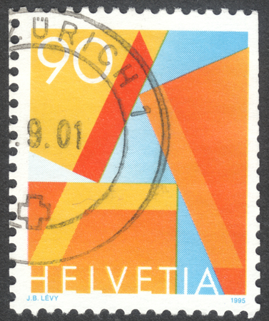 MOSCOW, RUSSIA - CIRCA NOVEMBER, 2016: a post stamp printed in SWITZERLAND, First Class Mail, circa 1995 Editorial