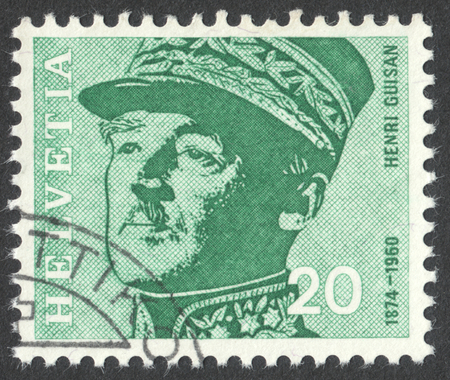 henri: MOSCOW, RUSSIA - CIRCA NOVEMBER, 2016: a post stamp printed in SWITZERLAND shows a portrait of Henri Guisan (1874-1960), the general, the series Famous people, circa 1969