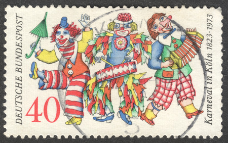 bundespost: MOSCOW, RUSSIA - CIRCA NOVEMBER, 2016: a post stamp printed in GERMANY, dedicated to the 150th Anniversary of the Carnival in Cologne, circa 1972