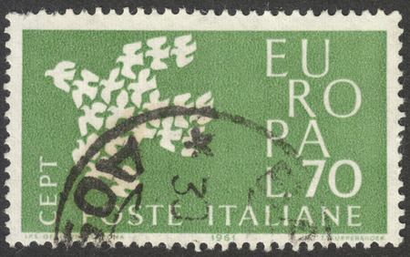 coordinating: MOSCOW, RUSSIA - CIRCA NOVEMBER, 2016: a post stamp printed in ITALY shows a dove, the series Eurostamps, circa 1961