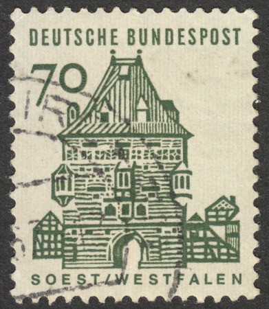 bundespost: MOSCOW, RUSSIA - CIRCA NOVEMBER, 2016: a post stamp printed in GERMANY shows Westfalen, the series German Building Structures of the 12th Century, circa 1964