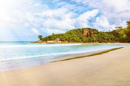 la digue: Amazing tropical beach. Toned image