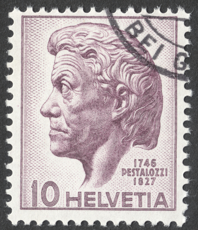 heinrich: MOSCOW, RUSSIA - CIRCA DECEMBER, 2016: a post stamp printed in SWITZERLAND dedicated to the 200th Anniversary of the Birth of Johann Heinrich Pestalozzi, circa 1946