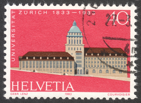 MOSCOW, RUSSIA - CIRCA DECEMBER, 2016: a post stamp printed in SWITZERLAND shows Zurich University, circa 1983