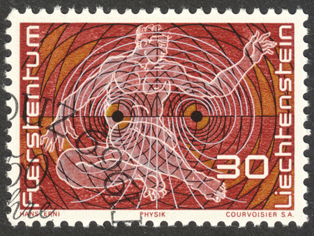 MOSCOW, RUSSIA - CIRCA DECEMBER, 2016: a post stamp printed in LIECHTENSTEIN, Representation of Physics, circa 1969 Editorial