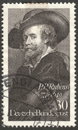 bundespost: MOSCOW, RUSSIA - CIRCA DECEMBER, 2016: a post stamp printed in GERMANY shows the self-portrait P. P. Rubens, dedicated to the 400th Anniversary of the Birth of P. P. Rubens, circa 1977 Editorial