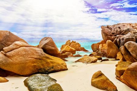 la digue: Tropical island. The Seychelles.Toned image.