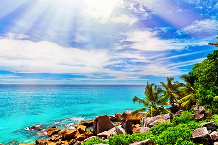 la digue: Photo of a tropical beach on the sunny day Stock Photo