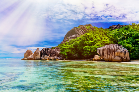 Anse Source dargent, La Digue island. The Seychelles. Toned image