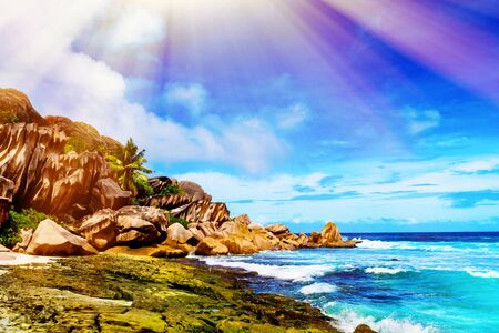 la digue: Photo of a tropical beach on the sunny day. Toned image