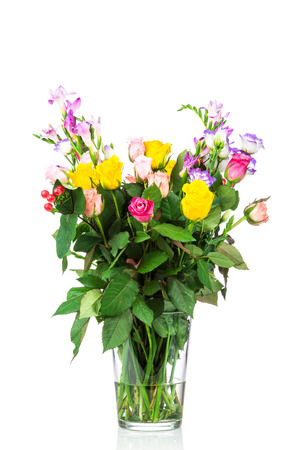 Bouquet of mixed flowers in the vase