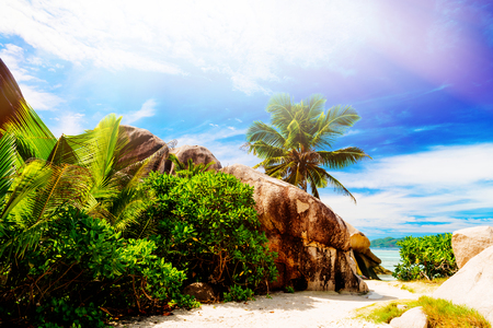 argent: Anse Source dargent La Digue island. The Seychelles. Toned image