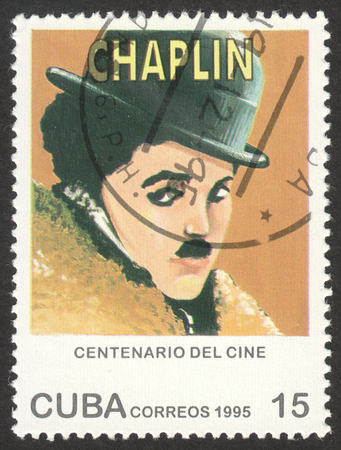MOSCOW, RUSSIA - CIRCA OCTOBER, 2017: a post stamp printed in CUBA shows a portrait of Charles Chaplin, the series Motion Picture Centenary, circa 1995
