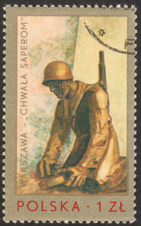 MOSCOW RUSSIA - CIRCA NOVEMBER 2017: a post stamp printed in POLAND shows Sapper's monument, by S.Kulow, Warsaw, the series