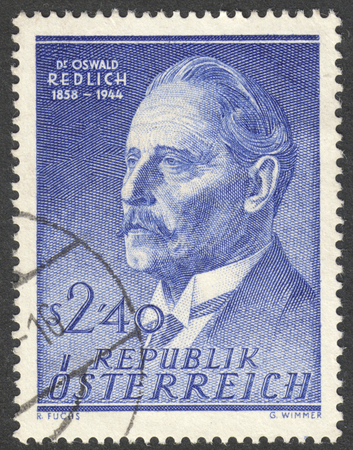 MOSCOW RUSSIA - CIRCA NOVEMBER 2017: a post stamp printed in AUSTRIA shows a portrait of Dr. Oswald Redlich, circa 1958 Editorial