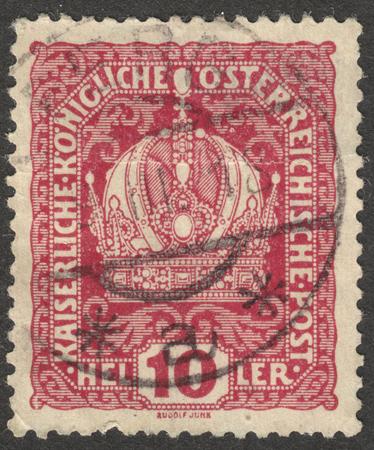 MOSCOW RUSSIA - CIRCA NOVEMBER 2017: a post stamp printed in AUSTRIA shows the Emperors crown, circa 1918 Redakční