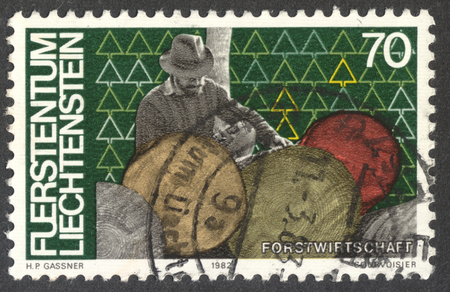 MOSCOW, RUSSIA - DECEMBER, 2017: a post stamp printed LIECHTENSTEIN dedicated to forestry, the series Labour, circa 1982