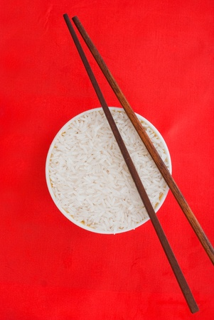 Chopsticks and rice plate photo
