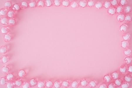 perls: Pink perls frame on pink background