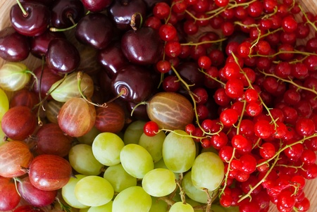 rainbow cocktail: fresh fruits of summer Stock Photo