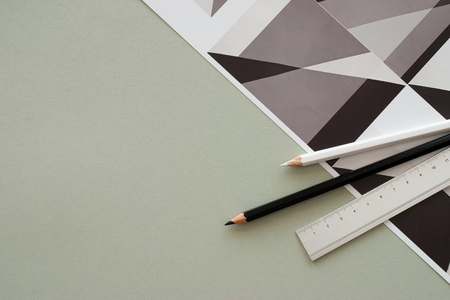 pencil on graphic background