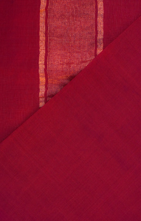 red: sari textile - red silk with golden stripes