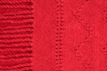 fringes: red cashmere scarf - close up of textile background