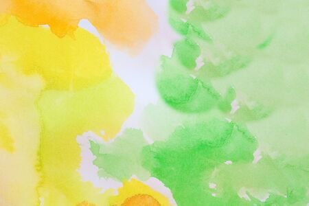 aquarel: green and yellow watercolors