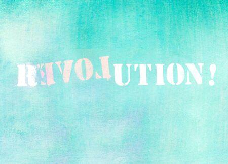 parole: revolution - love graffiti logo on textured wall Stock Photo