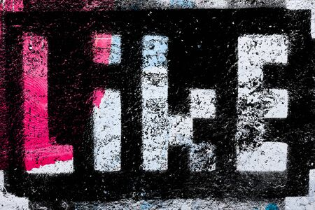 Social media networking concept: pixelated sign with Like text word isolated on textured background photo