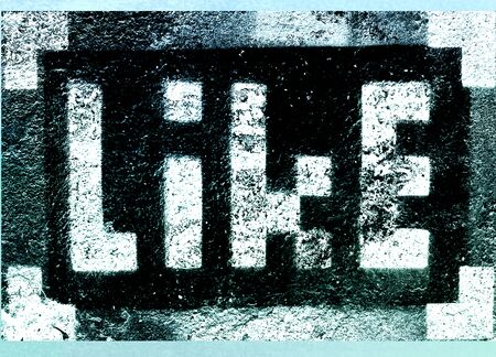 pixelated: Social media networking concept: pixelated sign with Like text word isolated on textured background