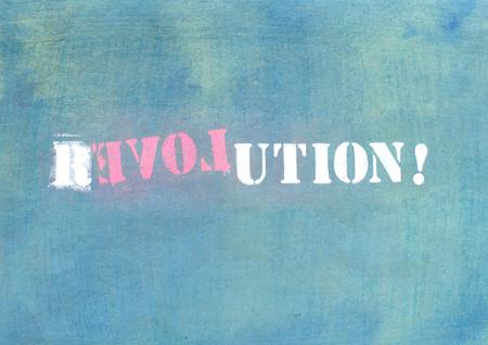 parole: revolution - love graffiti on textured wall