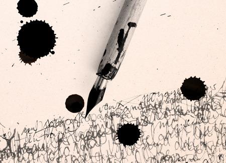 inkblot: ancient pen and inkblot on calligraphy paper