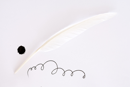 inkblot: white feather and inkblot on white paper Stock Photo