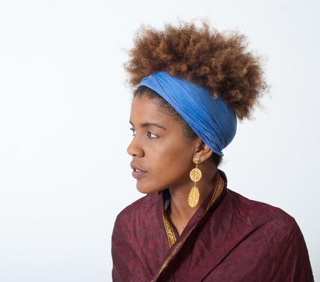 young afro american woman profile - studio shot