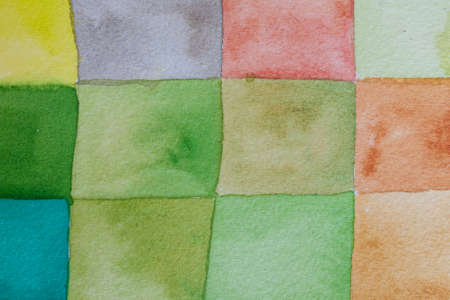 aquarel: colourful green watercolors on textured paper surface